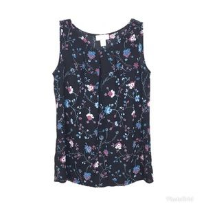Loft Outlet Navy Blue Floral Sleeveless Top XS